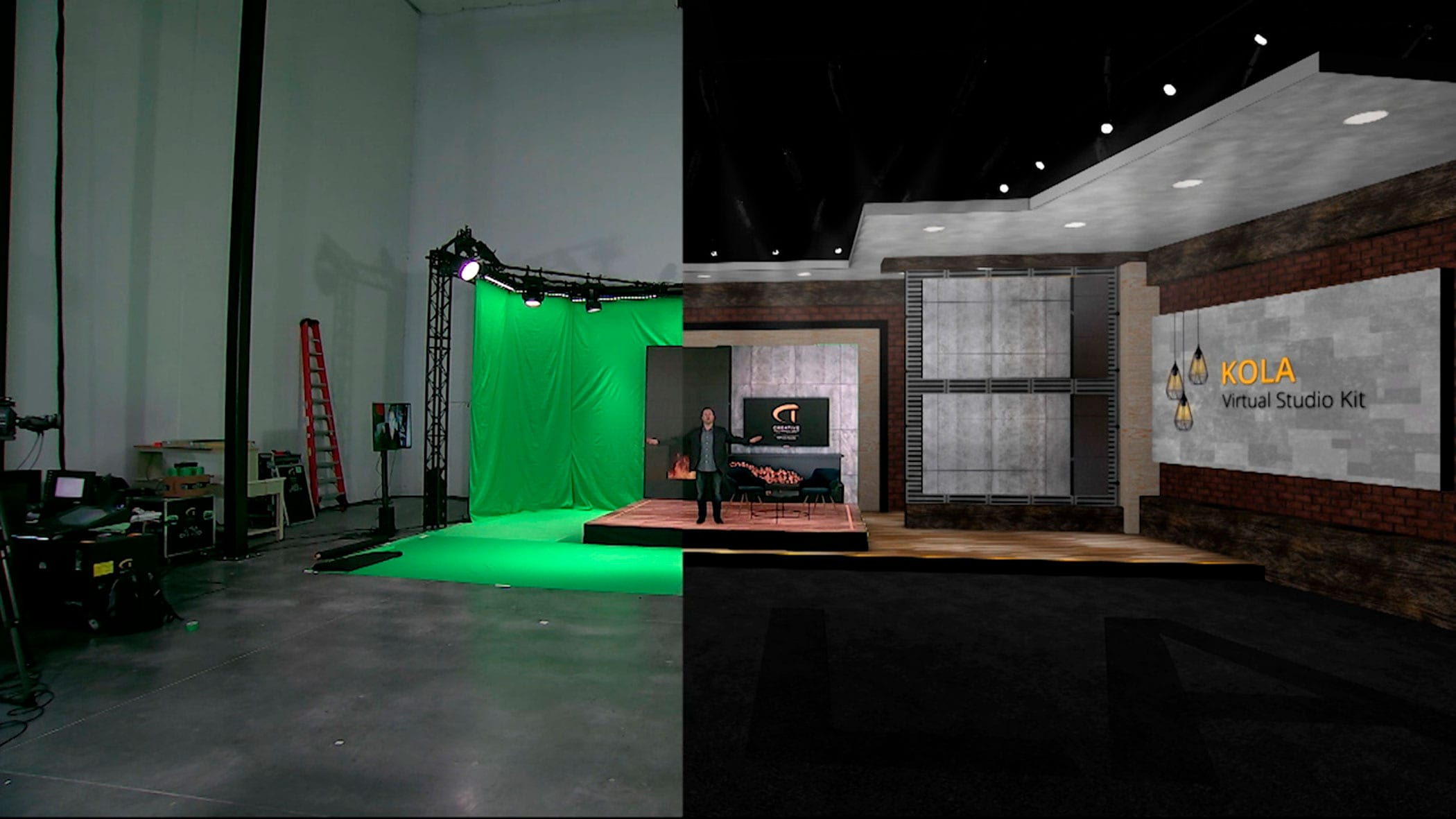 Virtual stage with green screen